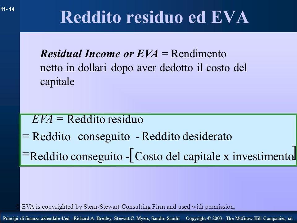 Reddito residuo ed EVA ] [ EVA = Reddito residuo = Reddito
